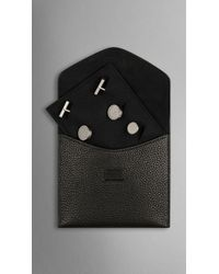 Burberry Grainy Leather Cufflink Case black - Lyst