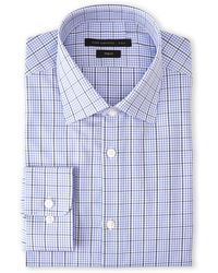 John Varvatos Blue Double Check Trim Fit Dress Shirt - Lyst