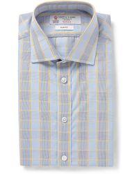 Turnbull & Asser Blue Slimfit Multicheck Cotton Shirt - Lyst
