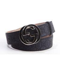Gucci Dark Blue Logo Embossed Rubberized Leather Gg Buckle Belt - Lyst