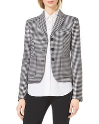 Michael Kors Houndstooth Fitted Wool-Jacquard Blazer - Lyst