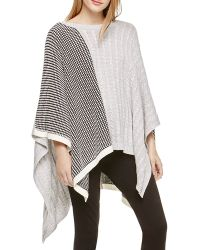 Two By Vince Camuto Mixed Media Poncho - Gray
