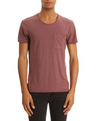 American Vintage Bordeaux T-shirt with Pocket and Devore Collar - Lyst