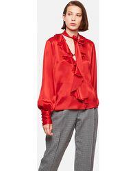 MSGM Camicia Con Rouches - Rosso