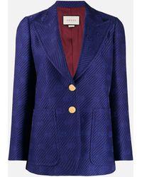 Gucci GG Embroidered Blazer - Blue