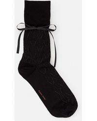 Simone Rocha Ankle Lace Ribbon Detail Cotton Blend Socks - Black