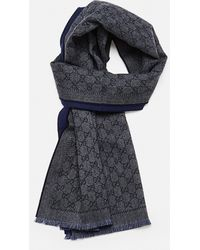 Gucci Wool Scarf With GG Jacquard Motif - Blue