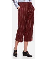 Thom Browne Pinstripe Wool Flannel Pants - Red