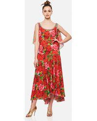 Richard Quinn Dress With Rose Print - Red