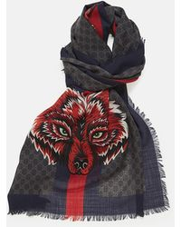 9628103e1 Gucci Nude And Green Tiger Web Print Wool Stole in Green for Men - Save 16%  - Lyst