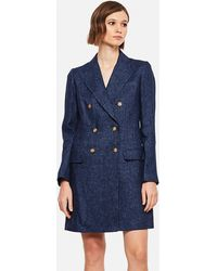 Polo Ralph Lauren Denim Blue Linen Blend Double Breasted Coat
