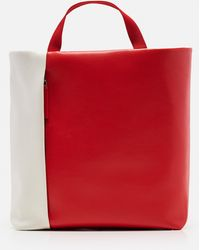 Plan C Color-block Tote Bag - Natural