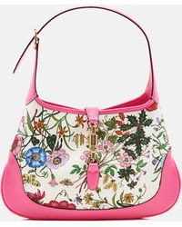 Gucci Jackie Hobo Bag With Flora Print - Pink