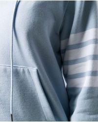 Thom Browne Hoodie With 4 Bars - Blue