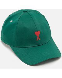 AMI Logo-embroidered Cotton-gabardine Baseball Cap - Green