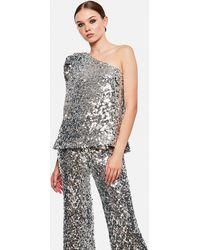 Halpern One Shoulder Top With Sequins - Metallic