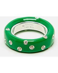 Bottega Veneta Ring Decorated With Crystals - Green