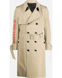 Valentino Trench Coat With Print - Natural