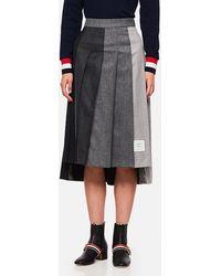 Thom Browne Pleated Wool Skirt - Gray