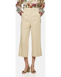 Gucci Viscose Culotte Pant With Web - Natural