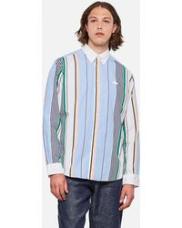 Lacoste Camicia relaxed fit in cotone a righe Live - Blu