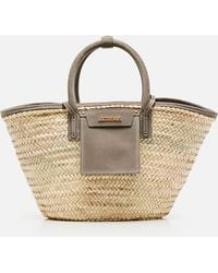 Jacquemus Le Panier Soleil Bag Straw And Leather Basket - Grey
