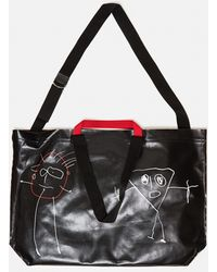 Plan C Oversized Tote Bag With Print - Black