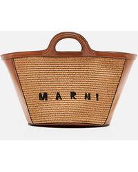 Marni Small Tropicalia Bag In Leather And Raffia - Natural