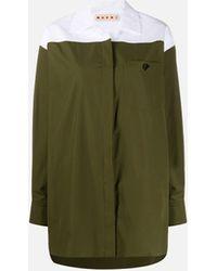 Marni Color-block Oversized Shirt - Green