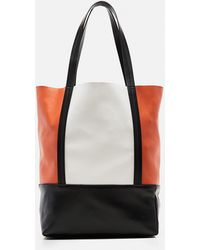Plan C Color-blocked Lambskin Tote Bag - Natural