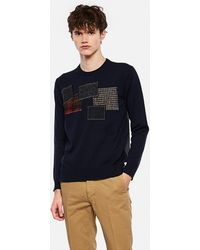 Junya Watanabe Wool Sweater With Patchwork Detail - Blue