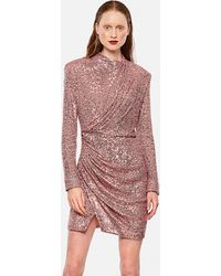 Redemption Draped Dress With Sequins - Pink