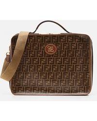 Fendi Two-color Bag With Logo Print - Brown