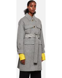 Fendi Double Wool Trench Coat - Gray