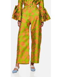 Marques'Almeida Flared Pants With Flowers - Green