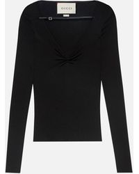Gucci Leather-trimmed Ruched Top - Black