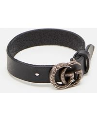 Gucci Leather Bracelet With Engraved Double G - Black