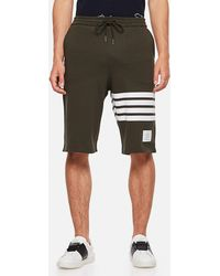 Thom Browne Printed Stripes Cotton Jersey Sweat Shorts - Green