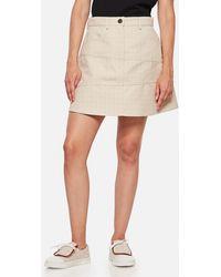 Loewe Anagram Jacquard Mini Skirt In Cotton - White