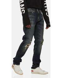 Calvin Klein Straight Leg Ripped Knee Jeans - Blue