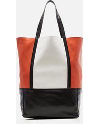 Plan C Color-blocked Lambskin Tote Bag - White