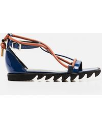 Sacai Flat Sandals With Contrasting Straps - Blue