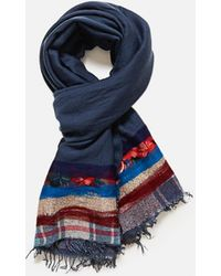 Exquisite J Scarf With Tartan Pattern - Blue