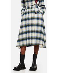 Golden Goose Deluxe Brand Tartan Skirt With Brooches - Grey