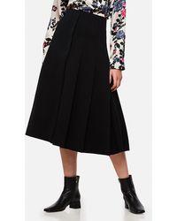 Marni Asymmetrical Pleated Midi Skirt - Black