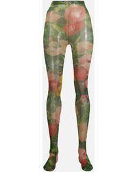 Richard Quinn Floral Print Tights - Green