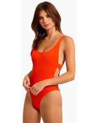 L*Space Mayra Side Cut Out One Piece Swimsuit - Poppy - Orange