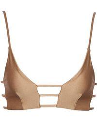 Montce Swim Cage Strappy Cut Out Bikini Top - Dark Sand Brown