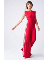 Norma Kamali - Side Stripe Sleeveless Jumpsuit - Tango/engineered Stripe - Lyst