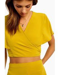 Motel Gios V Neck Wrap Crop Top - Yellow